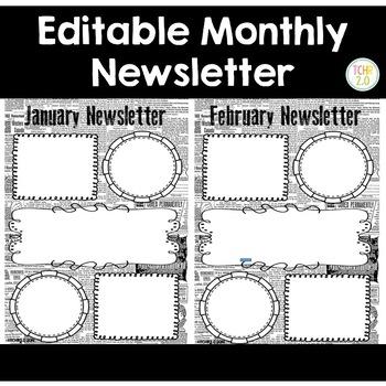 Monthly Newsletter Editable Newsprint