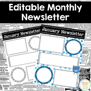 Owl Monthly Newsletters Editable
