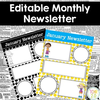 Monthly Newsletters Editable Scrappy Kids