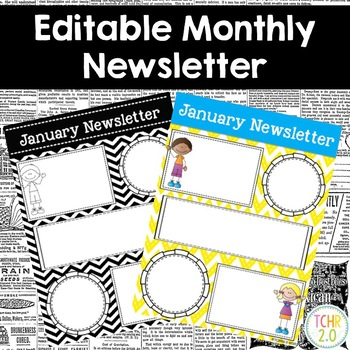 Monthly Newsletters Parent Communication Editable Scrappy