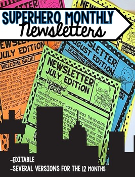 Monthly Newsletters Superhero Edition Editable