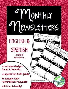Monthly Newsletters for the Pull Out Teacher (English and Spanish)