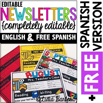 Completely Editable Monthly Newsletter Templates {ENGLISH PLUS FREE SPANISH}
