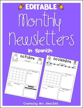 Monthly Newsletters in Spanish 2018-2019 (Editable)