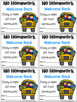 Monthly No Homework Passes {Color & Black/White}