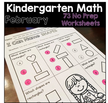 February / Valentine's Day - Monthly No Prep Kindergarten Math Worksheets