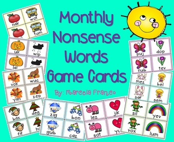 Nonsense Words- Monthly Game Cards