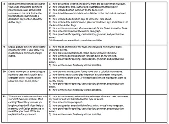 Monthly Novel Assignments with Grading Criteria