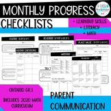 Monthly Progress Checklists for French Immersion I Parent