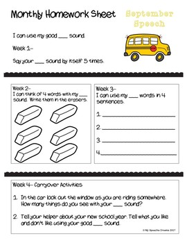 Monthly One Sheet Speech and Language Homework Pages