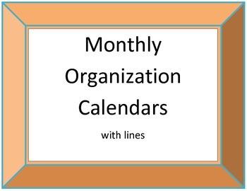 Monthly Organization Calendars