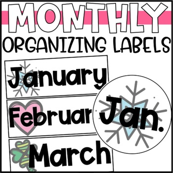 Monthly Organizational Tub Labels