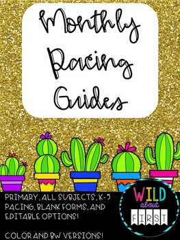Monthly Pacing Guides- Ready to Print AND Editable!