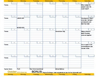 Monthly Parent Calendars 2015-2016