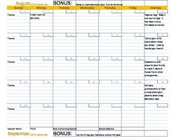 Monthly Parent Calendars 2015-2016