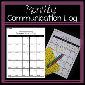 Monthly Parent Communication Log