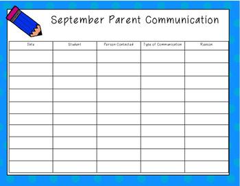 Monthly Parent Communication Logs