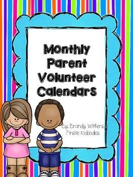 Monthly Parent Volunteer Calendars