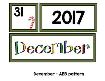 Monthly Patterned Calendar Cards {DECEMBER}
