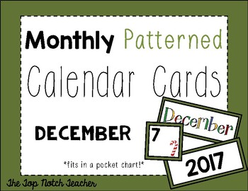 Monthly Patterned Calendar Cards {DECEMBER}