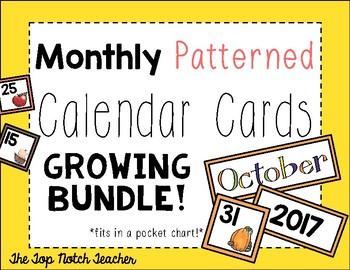 Monthly Patterned Calendar Cards GROWING BUNDLE