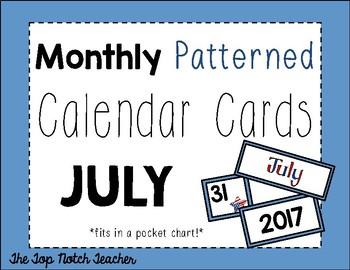 Monthly Patterned Calendar Cards {JULY}