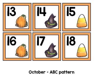 Monthly Patterned Calendar Cards {OCTOBER}