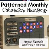 Monthly Patterned Calendar Numbers - Calendar Math Meeting Essential