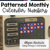Monthly Patterned Calendar Numbers - Calendar Math Meeting Essential