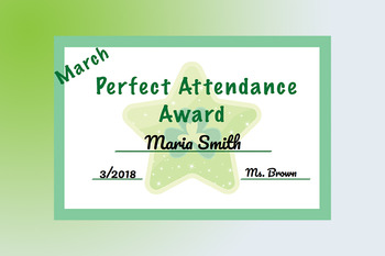Monthly Perfect Attendance Awards