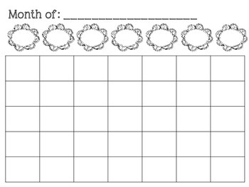 Flower Blank Monthly Planner