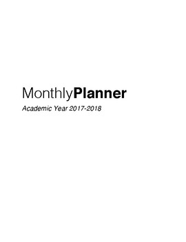 Monthly Planner 2017-2018