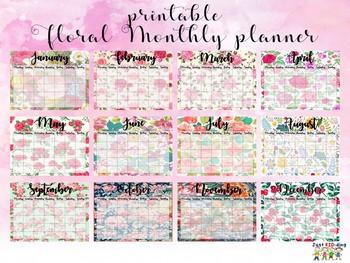 Monthly Planner (Floral Design)