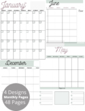 Monthly Planner, Undated, Monday Start. 4 Styles