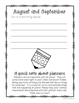 Monthly Planners - Student, Parent, and Teacher Communication