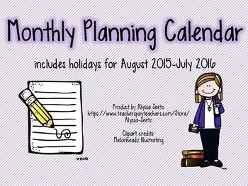 Monthly Planning Calendar 2015-2016