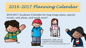 Editable Monthly Planning Calendar 2016-2017