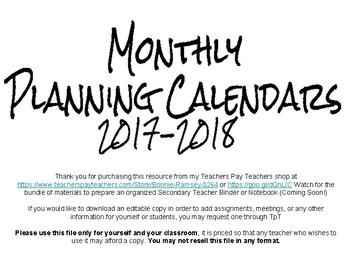 Monthly Planning Calendars 2017-2018 (January 2017 - June 2018)