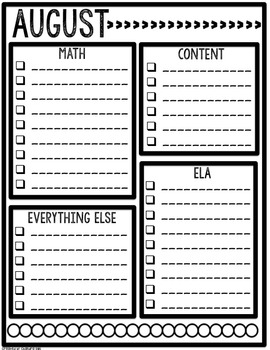 The Organized Teacher- Monthly Planning Lists