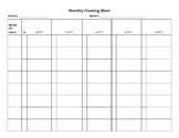 Monthly Planning Sheet for SLP's