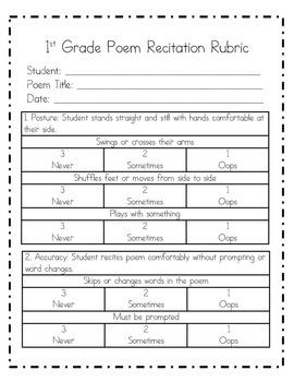 Monthly Poem Recitation for 1st Grade