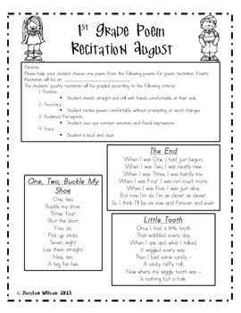 Monthly Poem Recitation for 1st Grade - FREEBIE!