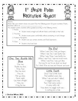Monthly Poem Recitation for 1st Grade - FREEBIE!