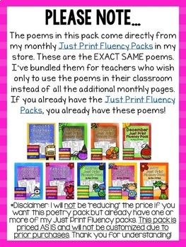 Monthly Poems and Songs for the Whole School Year