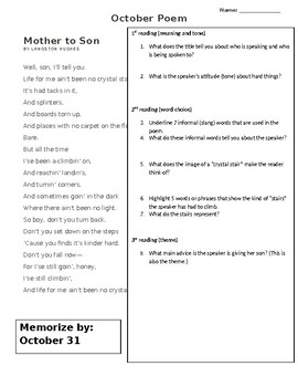 Monthly Poetry to analyze and memorize