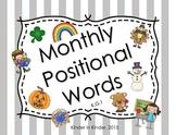 Monthly Positional Words Posters for Kindergarten K.G.1