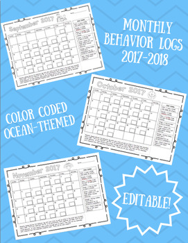 Monthly Behavior Logs 2017-2018 (Color Coded/Ocean Themed-Editable)