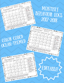 Monthly Behavior Logs 2017-2018 (Color Coded/Ocean Themed-