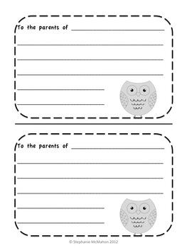 Monthly Positive Parent Communication Notes-Freebie