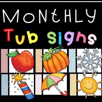 Monthly Prep Bin Signs